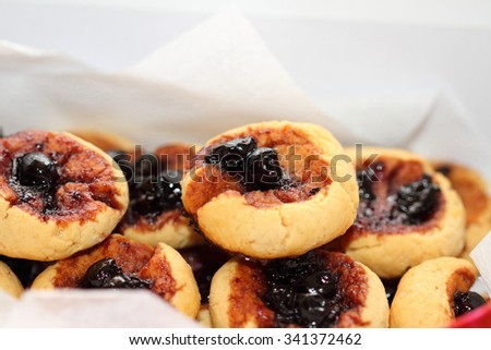 Peanut cookies with jam from a gooseberry