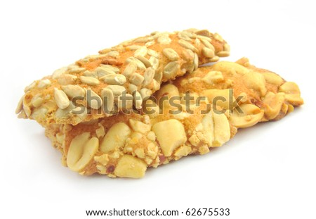peanut crackers isolated against a white background