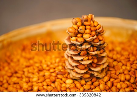 peanut display in the market at china