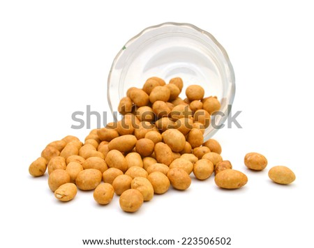 peanut in glass bowl on white background  - stock photo