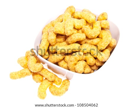 Peanut snacks in a bowl isolated on white background - stock photo