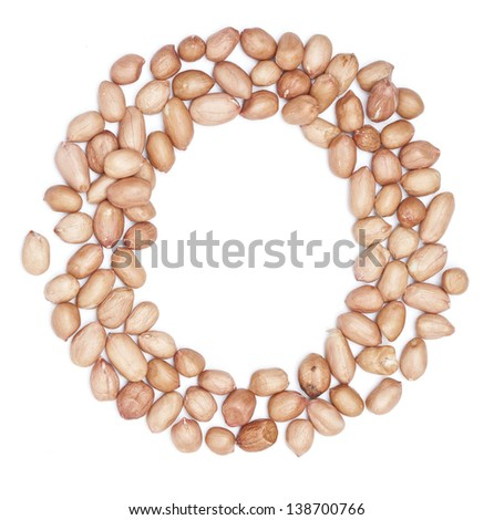 Peanuts in shape of letter o - stock photo