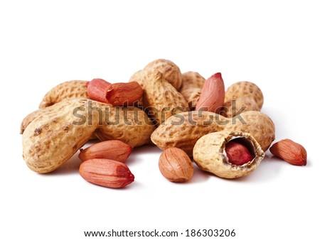 peanuts isolated on white background  - stock photo
