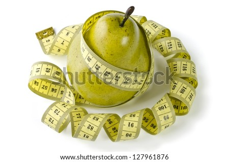 Pear and measuring tape, isolated over white