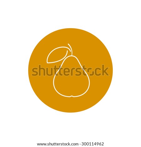 Pear, Colorful Round  Icon Pear, Fruit Icon - stock photo