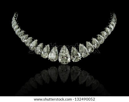 Pear diamonds necklace - stock photo