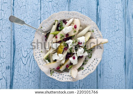 Pear, fennel and feta cheese salad - stock photo