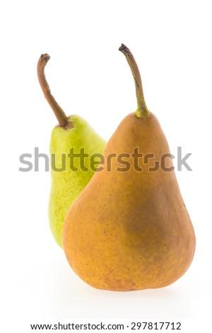 Pear fruit isolated on white background - stock photo