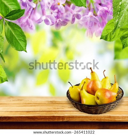 Pear. Juicy flavorful pears of nature background - stock photo