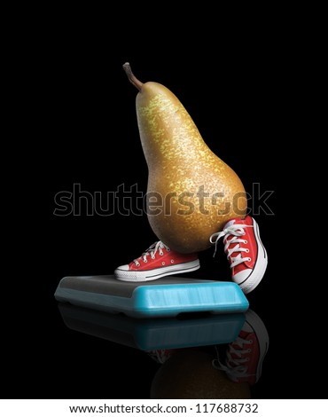 Pear make step , with red sneakers , on black background - stock photo