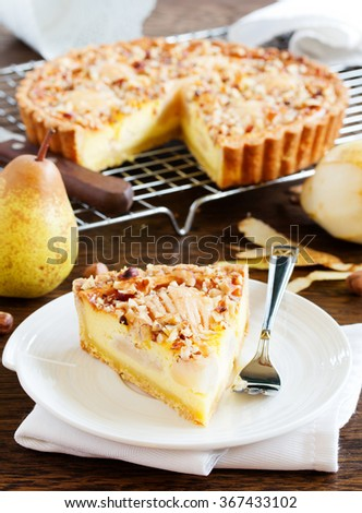 Pear pie with nuts and mascarpone. - stock photo