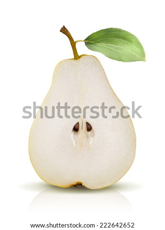 Pear split isolated on white background as package design element - stock photo