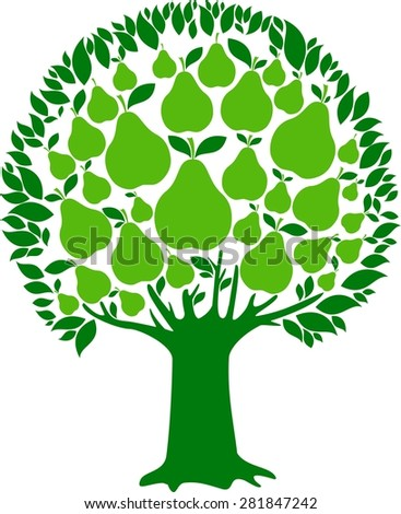 Pear tree isolated on White background.  illustration - stock photo