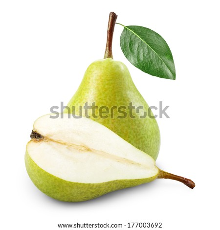 Pear with half isolated on white background - stock photo