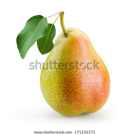 Pear with leaf isolated on white background - stock photo