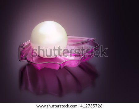 Pearl and shell in the background 3D rendering. - stock photo