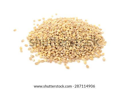 Pearl barley grains, isolated on a white background - stock photo