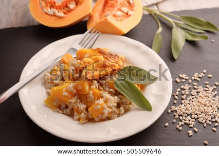 Pearl barley risotto with pumpkin and sage leaf