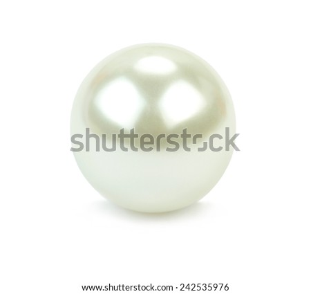 Pearl bead isolated on white background . Macro shot. - stock photo