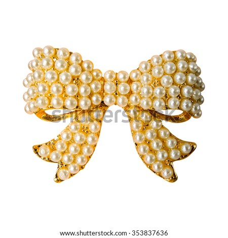 Pearl Bow shape pendant, isolated die cut (Clipping Path) - stock photo