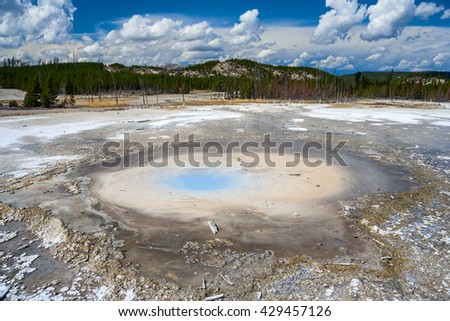 Pearl Geyser at The Norris Geyser Basin at Yellowstone National Park, Wyoming, USA - stock photo