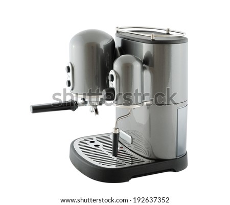 Pearl gray coffee machine, isolated on a white background - stock photo