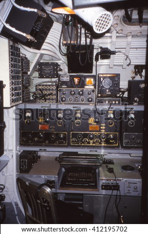 PEARL HARBOR, HAWAII - JAN 15, 2001 - Radio room of USS Bowfin (SS-287), World War II submarine in Pearl Harbor, Hawaii