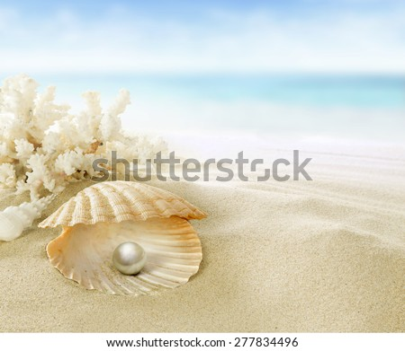 Pearl in coral reef - stock photo