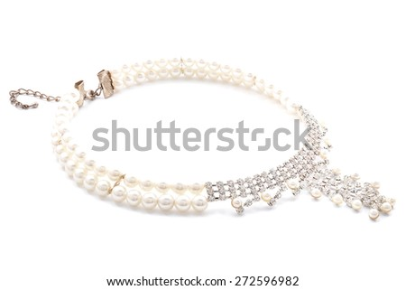 pearl necklace on a white background - stock photo