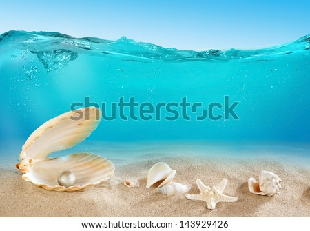 Pearl underwater - stock photo