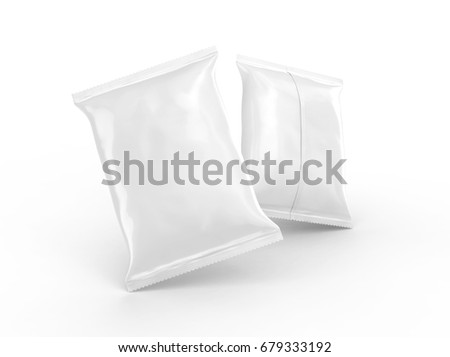 Pearl white foil package mockup, blank bag template for design uses in 3d rendering, floating in the air