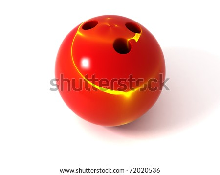 Pearlized Red and Yellow Bowling Ball Isolated on White - stock photo