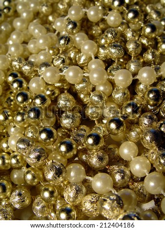 Pearls and Gold Beads - stock photo
