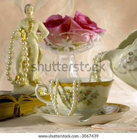 Pearls with the man - stock photo