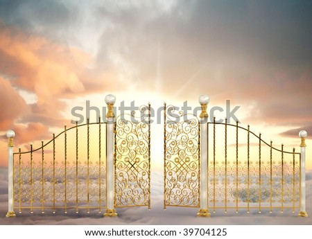 Pearly gates of heaven opening to a high altitude sunrise between two layers of clouds in a landscape orientation - stock photo