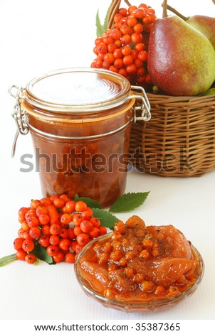 Pears and rowan berries jam - stock photo