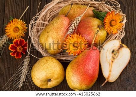 Pears autumn fall still life - stock photo