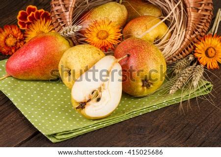 Pears decoration. Autumn fall still life. - stock photo