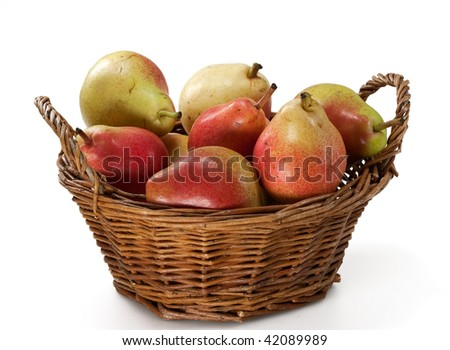 Pears in Wooden Basket isolated on White