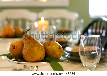 Pears on Table - stock photo