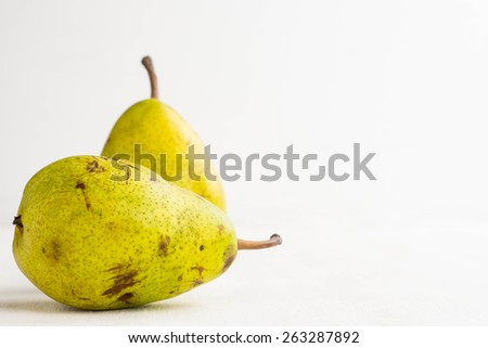 Pears on the wooden table