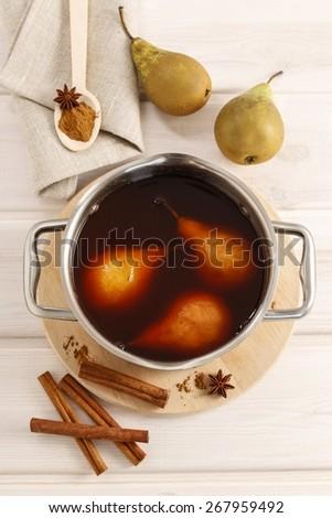 Pears with cinnamon - stock photo