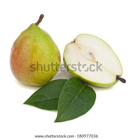 Pears with green leaves isolated on white background. Closeup.