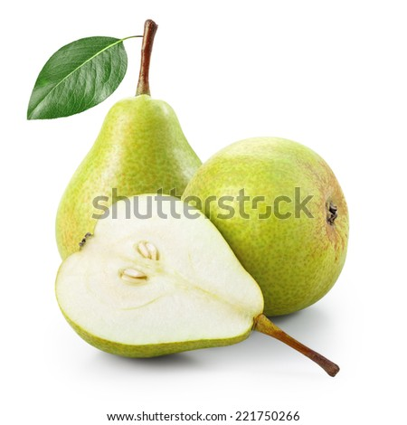 Pears with half isolated on white background - stock photo
