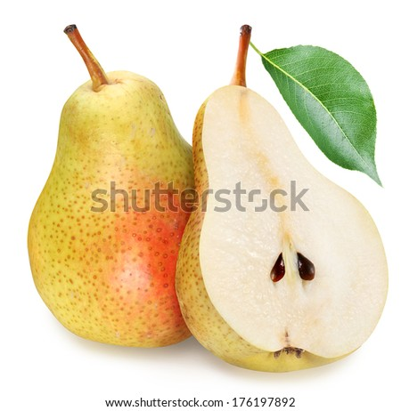 Pears with slice isolated on white background. - stock photo