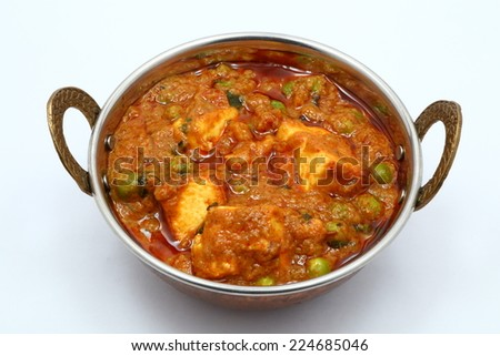 PEAS AND COTTAGE CHEESE VEGETARIAN CURRY DISH - stock photo