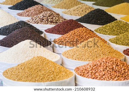 Peas,Rices,  beans and lentils in nylon bag - stock photo