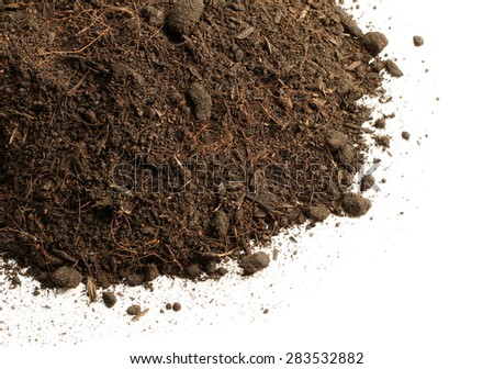 Peat soil isolated on white background