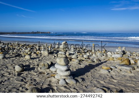 Pebble and rock piles, 17 mile drive - stock photo