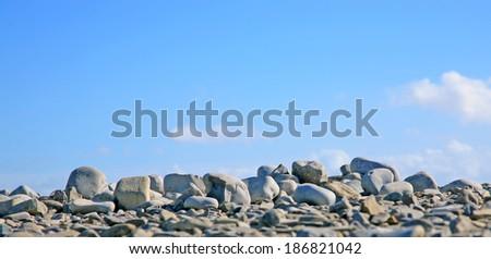 pebble horizon - stock photo